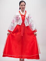 Elegante Dame koreanischen Druck Polyester Frauen Ethnische Kostüm