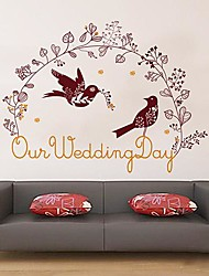 Createforlife® Cartoon Our Wedding Day Love Birds Bed Room Wall Sticker Wall Art Decals