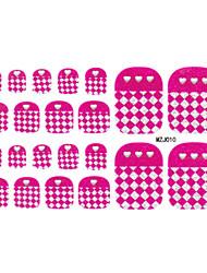 6x22PCS pourpre Maillage 3D Design Toenails Art Stickers