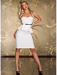 Сладкий Женская бретелек Solid Color Bodycon платье с поясом