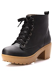 Women's Fall / Winter Motorcycle Boots Leatherette Outdoor / Office & Career / Dress Chunky Heel Lace-up Black / Brown / Beige