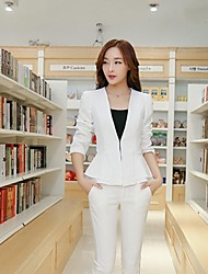 Women's Tailored Collar Ruffles Solid Color Slim Cut Coat Outerwear