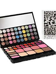 72 professionnelle léopard cas Palette de maquillage 44 diamants fard à paupières blush + 4 + 20 gloss ensemble de maquillage avec miroir