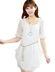 Oliviya tondo vestito dal collare chiffon comodo sottile con la cinghia (bianco)