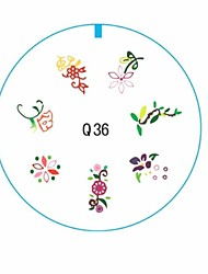 7 Different Style Flowers Mixed 3D Nail Stamping Plate Image Toe Tools