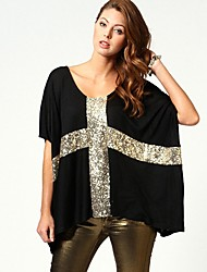 Abigail Cross Pattern Sequined Low - Large Cuff Loose T-Shirt 7213-2