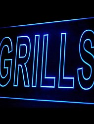 Grills Food Promotion Green Blue Red White Orange Purple Yellow Advertising LED Light Sign