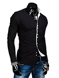 Zian® Men's Double Collar Placket Fashion Check Contrast Color Casual Long Sleeve Shirt O