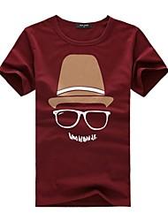 Men's Round Collar Casual Short Sleeve Print Tops T-Shirts