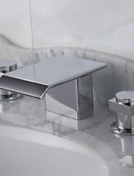 Contemporary Roman Tub Waterfall with  Brass Valve Two Handles Three Holes for  Chrome , Bathtub Faucet