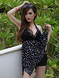 Women's Plus Size Polka Dot Halter Padded Asymmetrical Hem Tankini Set Swimsuit