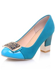 Flocking Women's Chunky Heel Round Toe Pumps Shoes (More Colors)
