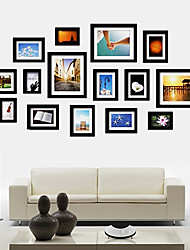 Schwarz Foto Wall Frame Collection Set von 15
