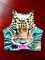 T-Shirt - Sexy/Attillato/Da spiaggia/Casual/A fantasia/Taglie forti - Senza maniche - Sottile DI Cotone/Elastico