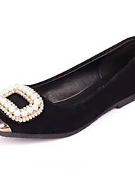 TV comodità del tallone delle donne di cuoio gli appartamenti con le scarpe perla (più colori)