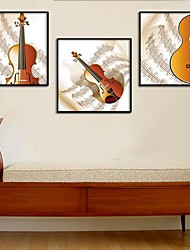 Violin Art Painting Framed Canvas Print Set of 3