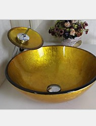 Gold Hand Painted  Round Tempered Glass Vessel Sink With Waterfull Faucet ,Mounting Ring and Water Drain