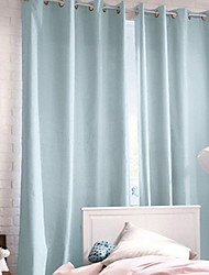 TWOPAGES® (One Panel Grommet Top) Modern Minimalist Light Blue Solid Curtain