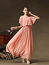 Ouli Women's Vintage Solid Color Chiffon Long Dress