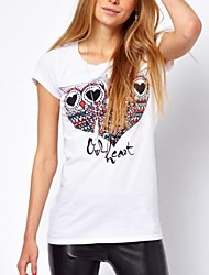 Women's Love Eye Owl Print Short Sleeves T-Shirt