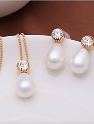 Mode alliage or / rhodium plaqué et Shell Bijoux en perles de Set de femmes Décorées dans des pierres tchèques (1 PC)