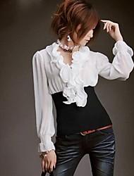 Falbala Lollar camisa de manga longa das mulheres
