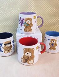 Cor aleatória caneca de café cerâmica padrão de urso 3d ursinho, 10x9x9.5cm