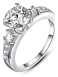 Ms Beautifully Minimalist Fashion Diamond Platinum Plated Single Ring