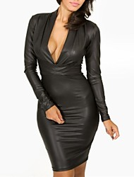Women's V-neck Long Sleeve Leather Dress