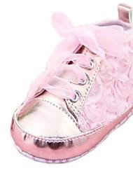 Talón plano muchacha del algodón Primera Walker Fashion Sneakers con zapatos de flores (más colores)
