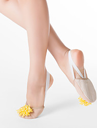Fabric Half Ballet Slipper With Yellow Imitation Pearl & Suede Leather Out Sole