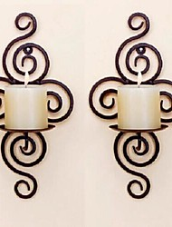 Metal Wall Art Wall Decor Simple Thread Candlestick Wall Decor Set Of 2