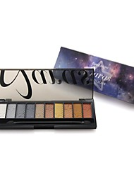 Professional 10 Color Sky with Star Full Shimmer Eyeshadow Palette with Double Ended Brush 03#