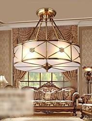 Lampada a sospensione in ottone, quattro luci, Vintage totale Rame Vetro (PU190004)