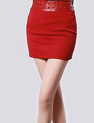 Women's Waist Leather Stitching Bodycon Skirt