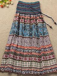 impresión de Bohemia de longitud tobillo falda de las mujeres