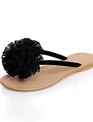 Frauen Flache Heel Sandaletten mit Blumen Comfort Schuhe