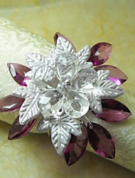 Leaf Crystal  Multi  Beads Flower In Multi Color Napkin Ring,Acrylic Beades, 3.5CM, Set of 12,