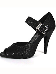 Customized Woman's Black Sparkling Glitter Dance Shoes For Latin/Ballroom Sandals