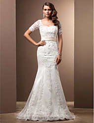 Lanting Trumpet/Mermaid Plus Sizes Wedding Dress - Ivory Sweep/Brush Train Sweetheart Lace