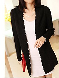Frauen Neue Perle Trim Knit Cardigan Sweater