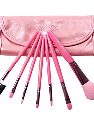 7 Pcs Pink Cosmetic Brush Set With Bag