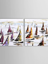 IARTS®Hand Painted Oil Painting Landscape Boats in The Ocean with Stretched Frame Set of 2