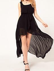 hdy elegante longo e curto na frente balanço vestido preto de cauda de andorinha