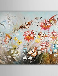 Hand Painted Oil Painting Floral Butterflies Flying Among Flowers with Stretched Frame