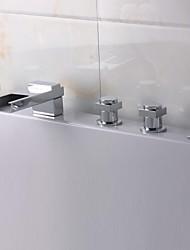 Fini Chrome contemporaine 5 trous cascade salle de bains robinet de baignoire avec douche à main