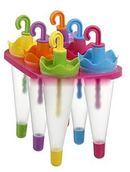 "6 Cells Umbrella Ice Cream Tray Cube Mould Mold with Stick(Random Color) ,  Plastic 6.4""x4.4""X6"""