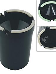 Carking™ Cup Shaped Shiny Finish Glow-in-the-Dark Car Ashtray-Black