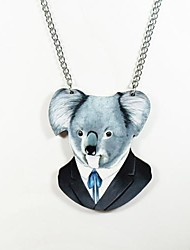 Koala Pattern Wood Necklace