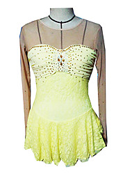 Girl's Yellow Spandex Lace Skirt Figure Skating Dress(Assorted Size)